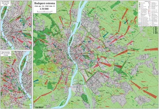 budapest ostroma térkép 1.számú melléklet Budapest ostroma térkép (1:30000) két  budapest ostroma térkép