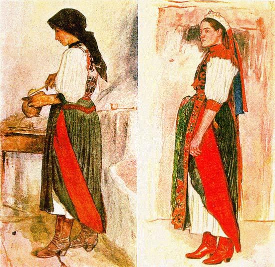 2073ef61df Kalotaszegi női és férfi viselet (Körösfő, B.-Hunyad, Magyarókereke, Mákó).  (V. tb. a.)