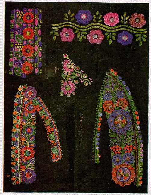 0705832d44 Sárközi himzések. (XIII. tb.) A felső három sáv női ingekről. – Az alattuk  lévők sárközi színes főkötőkről. A felső sáv szíves, alatta tölgyfaleveles,  ...
