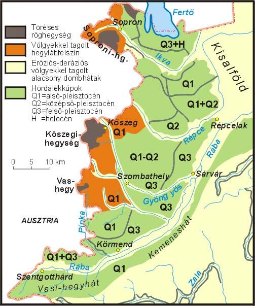 Az Alpokalja medencefelőli peremén a hegységből lesiető folyók  kavicstakarókkal fedték be a 2 millió évesnél idősebb felszínt 5521aa7ba5