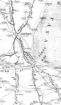 A Nagycenken átmenő utak térképe a XIX. század elején 701f496be8